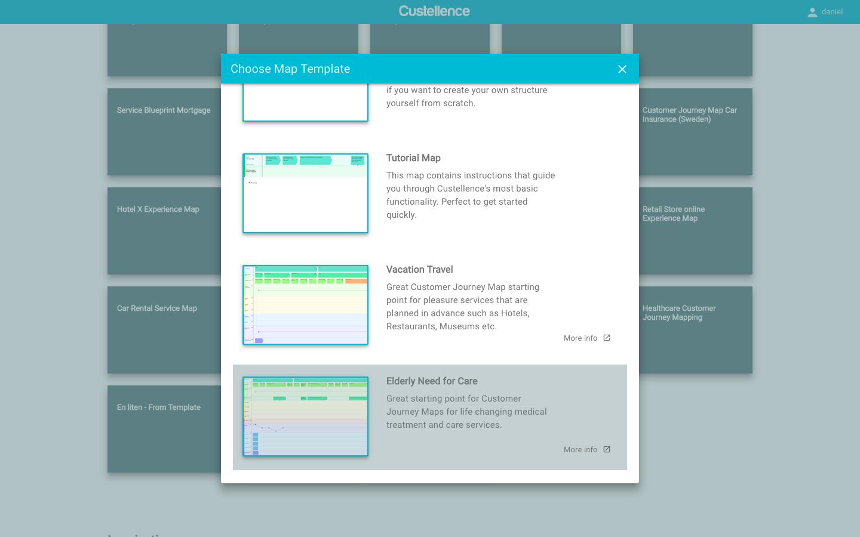 Customer journey map template chooser